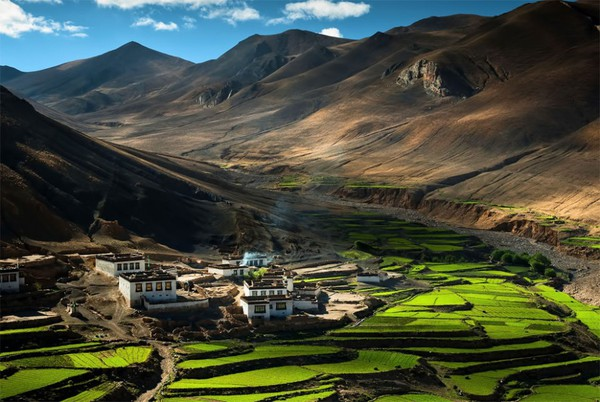 The village in the Himalayas, Tibet