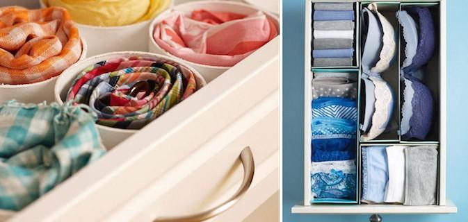 16 Maneiras geniais de organizar o quarto, guarda-roupa e as gavetas