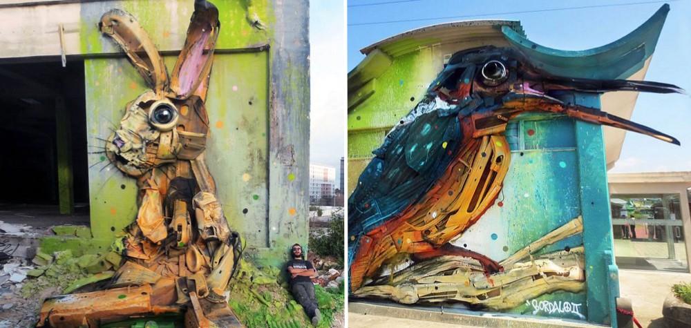 Artista de rua transforma lixo em esculturas de animais para criticar a poluição do meio ambiente