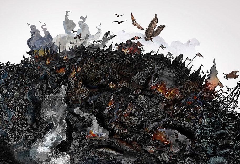 ilustra231245es detalhadas de artista mostram o mundo