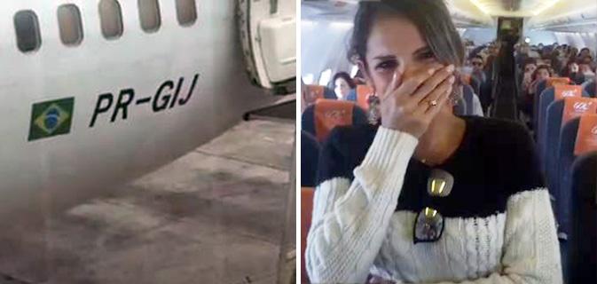 Ela só iria visitar o namorado, mas não contava que ele apareceria no avião para pedi-la em casamento