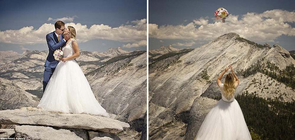 Fotógrafo vence seu maior medo para fazer álbum de casamento em cima de um penhasco