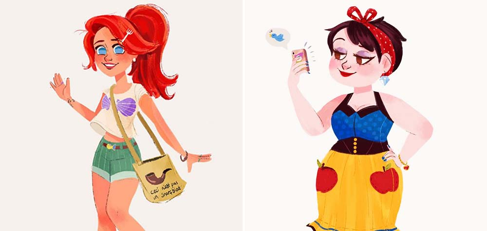 10 Princesas da Disney ilustradas como garotas modernas