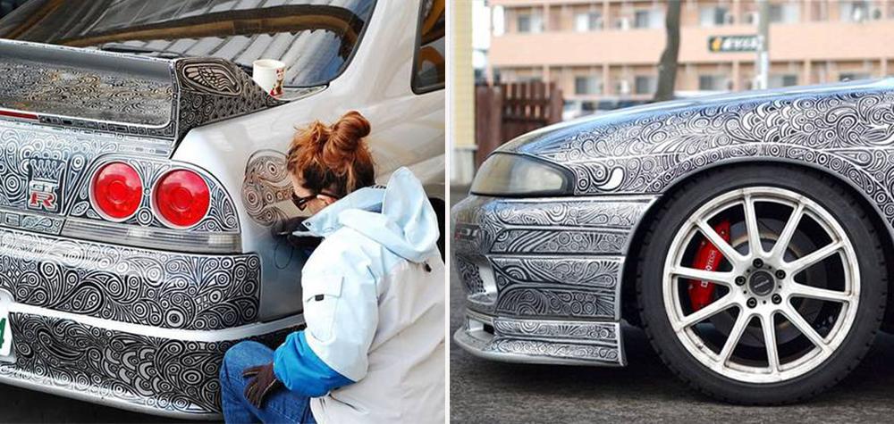 Ela pintou todo o carro do marido utilizando apenas marcador permanente – e o resultado ficou inacreditável
