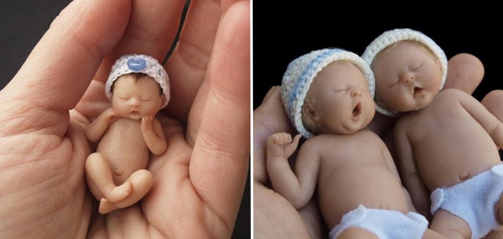 Ela produz esculturas de bebês fofas e delicadas, que cabem na palma da mão