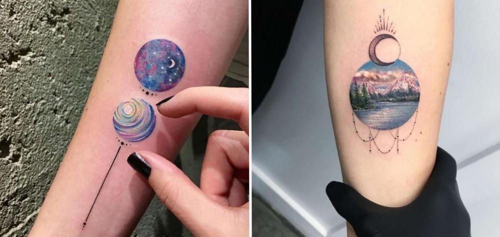 20 Tatuagens com desenhos detalhados em pequenos círculos