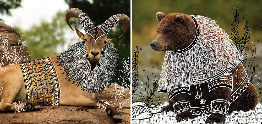 Ele Combinou Animais Com Desenhos Tribais Transformando Os Em