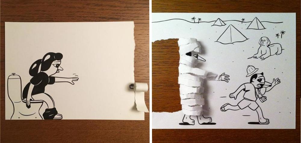 Ele Brinca Com O Papel Para Criar Desenhos Em 3d Bem Interessantes