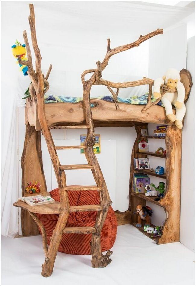 10 camas incríveis feitas de árvores